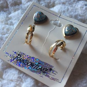 14 karat gold plated earrings hearts and hoops